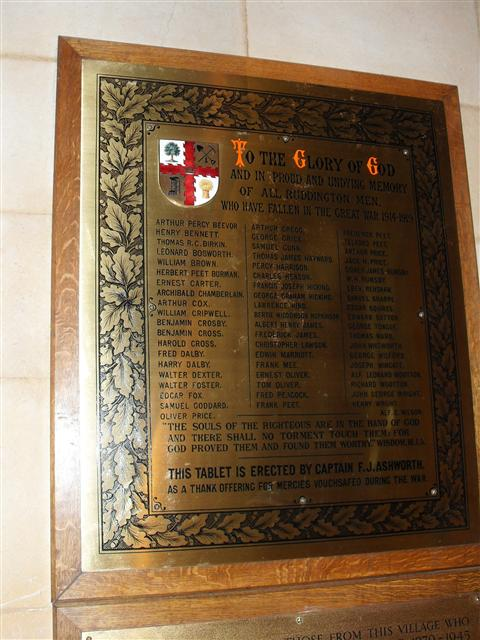 (WMA 27288) The names of all the fallen servicemen on a brass plaque erected to remember them.