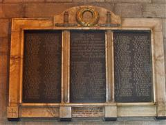 A tablet erected to remember those from the West Bridgford area who died in the Great War.