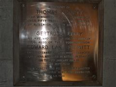 A plaque created to commemorate T and E L Flewitt and G Emily.