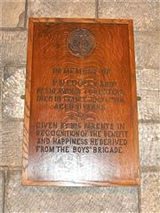 A plaque created to remember P N Cooper who died in combat in 1916.