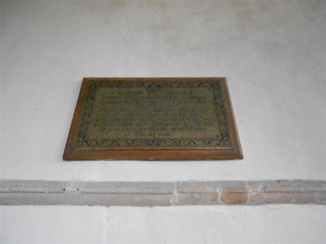 The memorial commemorating Lieutenant Christopher Chowler Gilbert at All Saints Church Barnby in the Willows and is courtesy of Peter Gillings