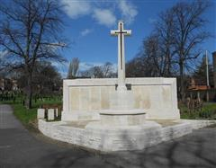 Photograph of the screen wall memorial at the Nottingham General cemetery, courtesy of Peter Gillings