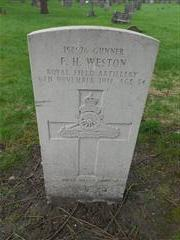 Commonwealth war graves headstone marking the grave of Gunner Frederick Herbert Weston situated in the General Cemetery in Nottingham