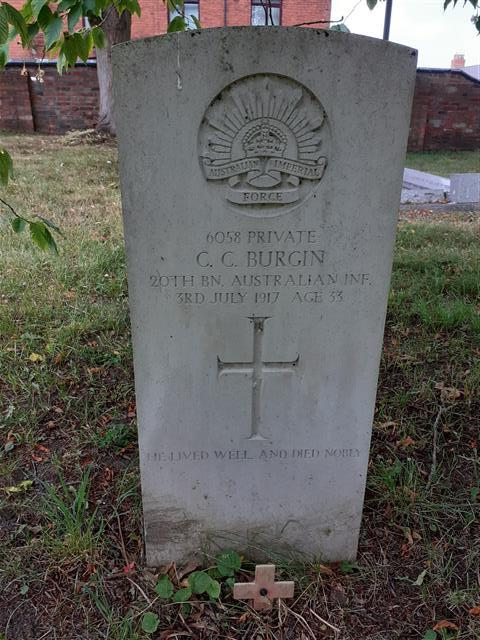Photograph showing the commonwealth wargraves commission headstone marking the grave of Christopher Collins Burgin at St Giles Churchyard, Balderton, courtesy of Peter Gillings