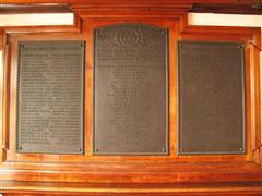 Nottingham Rowing Club memorial.  The centre panel commemorates those who died; the names of members who also served are on the two side panels.