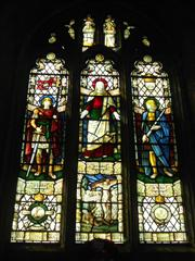 Three light stained glass window ,showing full window 