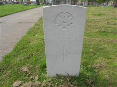 Photo showing commonwealth war grave headstone marking the grave of W Scott in Worksop (Retford Road ) Cemetery Photo taken by Peter Gillings