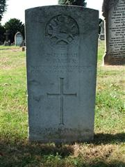 The Grave of Private Barber, a serviceman in the Notts and Derby regiment.