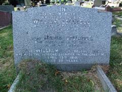 William Colledge remembered on a family grave. Photo by Tracy Dodds.