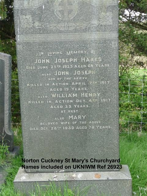 Showing the headstone of the Hakes family remembering William Henry Hakes which is in St Mary's churchyard at Cuckney