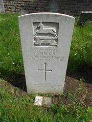 Commonwealth War Grave Commission headstone marking the grave of James Mackin at Basford Cemetery. 