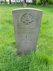 Commonwealth War Graves Commission headstone marking the grave of S Longdon in Basford cemetery. Photograph Peter Gillings