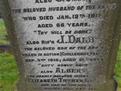 Redhill Cemetery, Arnold, Nottingham. Dalby family grave and headstone commemorating James Dalby. Photograph Peter Gillings.