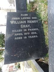 Family grave of the GRAY family which commemorates their son WH GRAY. Photo by Tracy Dodds