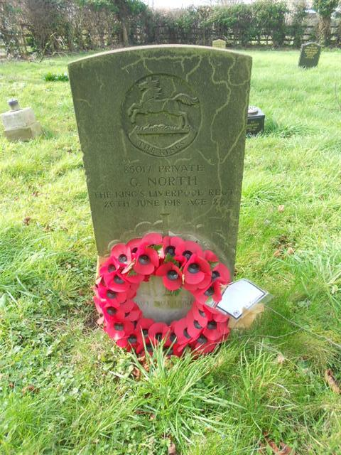This photo shows the commonwealth war graves headstone marking the grave of George North at St Martins Churchyard at Bole. Photo taken by Peter Gillings