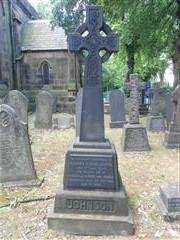 Headstone marking the grave of Clarence Everard Johnson in the churchyard of Holy Trinity Church,Lenton. Photo taken by Peter Gillings