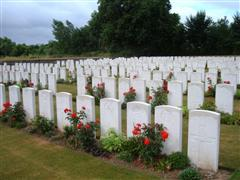 Photo of Awoingt British Cemetery where Arthur Stubbings is buried in grave reference III. C. 13. Courtesy of the CWGC