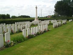 Photo shows the Le Grand Beaumart british Cemetery, Steewerck, France where Harold Wannop Harrington is buried in grave reference I G 18 ,courtesy of the CWGC