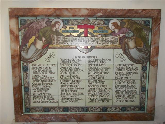 Photo shows the memorial inside St Saviours Church,Retford .