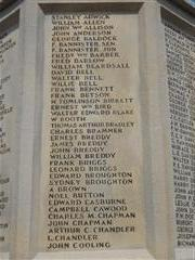 Photos shows the panel containing the names of the fallen A - C