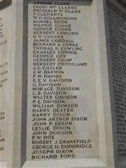 Photos shows the panel containing the names of the fallen C - D