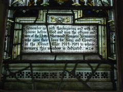 Inscription: 'Remember ye with thanksgiving and with all honour before God and man, the officers and men of the Nottinghamshire Sherwood Rangers Yeomanry who gave their lives for King and Country in the Great War, 1914 - 1919 to whose memory this window is dedicated'