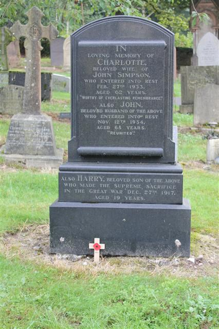 Remembered on his parent's headstone in Nottingham Road, Mansfield