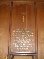 Centre panel with dedication; the names of the men who died are inscribed on the panels either side. Photograph Rachel Farrand