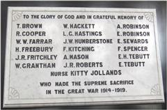 Photo shows the war memorial in the Methodist Chapel, Misterton, courtesy of the Misterton and West Stockwith history group
