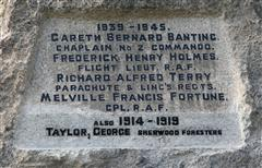 In preparation for a service of re-dedication of the War Memorial in July 2014, the name of George Taylor (a casualty of WW1) was added. He died 22 days after the War Memorial was erected.  Owing to space constraints, his name had to be added below the WW2 names.