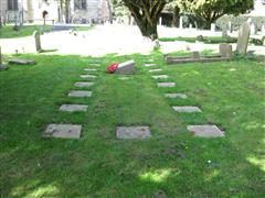 Mass grave in St Mary Magdalene Churchyard Attenborough of over 130 unidentifiable victims of the explosion on July 1st 1918.