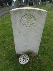 Commonwealth war grave headstone marking the grave of Sidney Sulley at Redhill Cemetery at Arnold. Photo taken by Peter Gillings