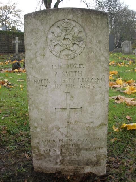 Grave and CWGC headstone, Nottingham Church (Rock) Cemetery.  Photograph Rachel Farrand (11 November 2010)