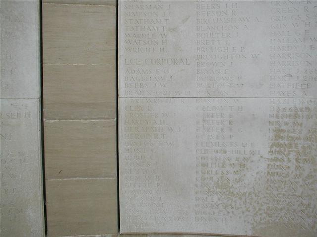 Commemorated on the Loos Memorial Dud Corner. Visited by John Morse and wreath laid. Photo courtesy of John Morse