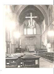 Interior of St Catherine's Church, St Ann's Well Road, showing altar decorations. Photograph courtesy of St Mary's church, High Pavement.