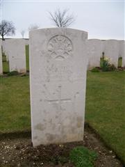 21558 Private Edward Kitchen was killed in action when the battalion held front line trenches near Thiepval.  It is probable that Edward was first buried in Mash Valley Cemetery and reinterred after the war in Ovillers, grave I. C. 22. Visited and cross laid by John Morse, photo courtesy of John Morse