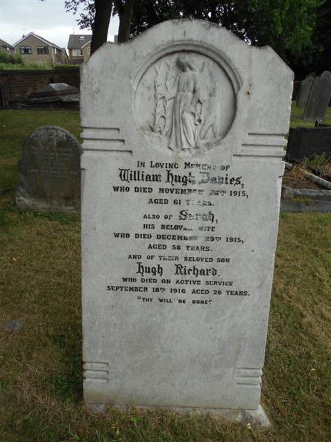 The family headstone in St Peters Church Awsworth commemorating Hugh Richard Davies.
