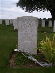 The Commonwealth War Graves Commission headstone marking the grave of Tom Foulds in Knightsbridge Cemetery, Mesnil-Martinsart, Somme,France.