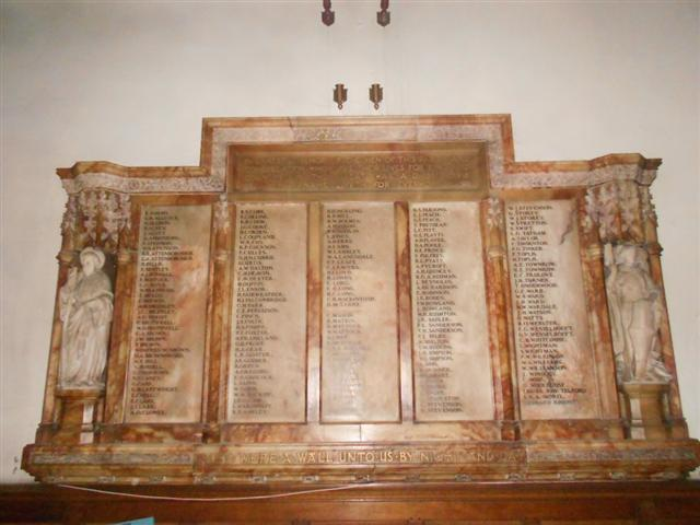 Memorial to members of the parish and congregation who died in the war.