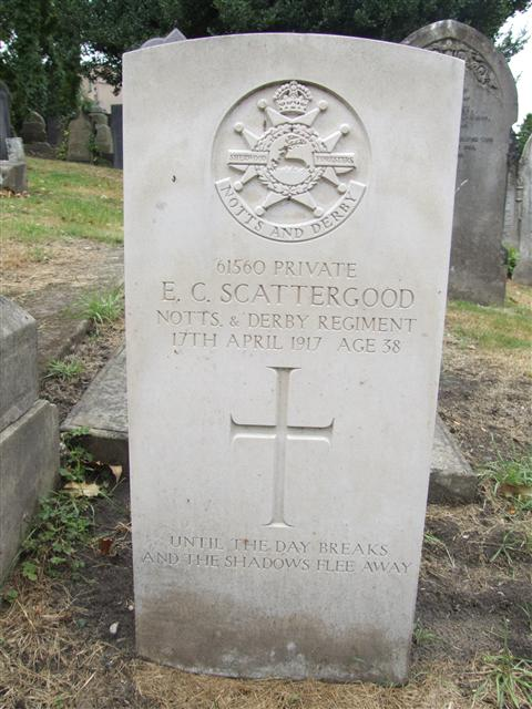 61560 Private Ernest Charles Scattergood died at home (in UK) on 17 April 1917.