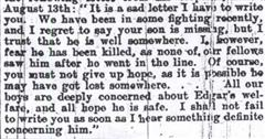 Extract from a letter to Jepson's family from a corporal following his disappearance on the Somme in 1916.