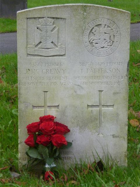 Grave, Nottingham General Cemetery.  Photograph taken on Armistice Day 2014 by Rachel Farrand