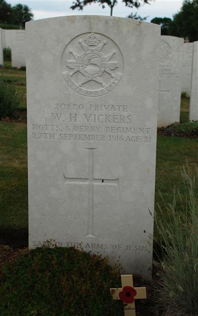 20220 Private William Horace Vickers was killed in action on 27 September 1916, the second day of the Battle of Thiepval.  After the armistice his remains were moved from Nab Road Cemetery to Lonsdale Cemetery Authuile, France. Many thanks to Ian Johnson for taking photo and laying cross.  Photo John Morse.
