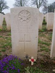 16 year old, 25793 Private James Walters was killed in action in Deville Wood, whilst attached to the 8th  battalion South Staffordshire Regiment. He is buried in Delville Wood Cemetery, grave IV.F.6. Visited, cross laid, photo taken by John Morse