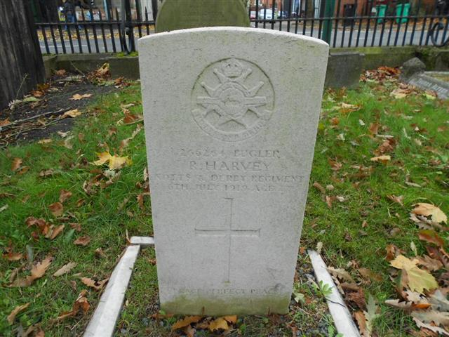 Commonwealth war grave headstone marking the grave of Raymond Harvey at the Rock Cemetery, Nottingham 