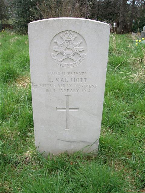 Commonwealth War Graves Commission headstone in St Mary's churchyard at Westwood 