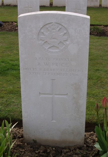 23878 Private Albert William Price died of wounds received during the Battle of Thiepval. He is buried in Warloy-Baillon Communal Cemetery Extension, grave IV.B.13. Sincere thanks to Peter Bennett for taking the photograph.