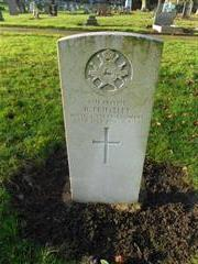 The commonwealth war grave headstone marking the grave of Henry Edmund Priestley at Beeston Cemetery. 