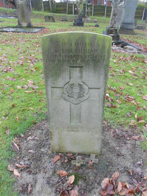 Commonwealth war grave headstone marking the grave of Alfred Bircumshaw at Eastwood Cemetery. 