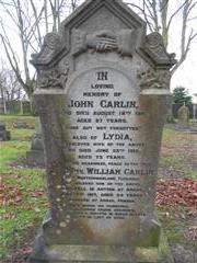 The grave of William Carlin's family at Eastwood Cemetery 